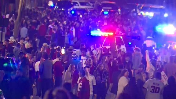 Tuscaloosa, Alabama celebrate with massive crowds after the University of Alabama won the national championship in football. Many of those celebrating appeared not be wearing masks.