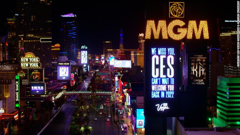 """On Monday, more than a dozen marquees along the Las Vegas Strip were lit with the message: """"We miss you, CES. Can't wait to welcome you back in 2022."""""""