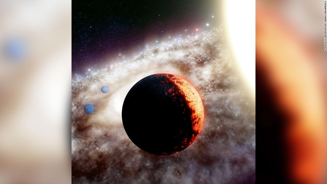 This artist's illustration shows TOI-561b, one of the oldest and most metal-poor planetary systems discovered yet in the Milky Way galaxy. Astronomers found a super-Earth and two other planets orbiting the star.