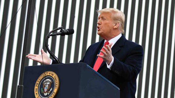 US President Donald Trump speaks after touring a section of the border wall in Alamo, Texas on January 12, 2021. (Photo by MANDEL NGAN / AFP) (Photo by MANDEL NGAN/AFP via Getty Images)