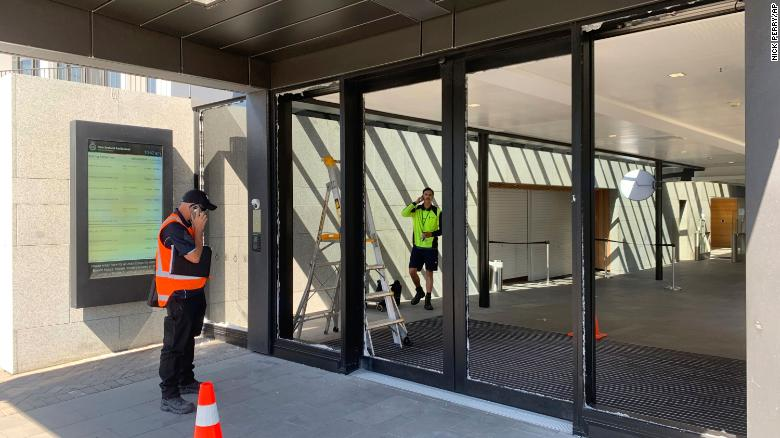 Axe-wielding man smashes New Zealand Parliament building doors