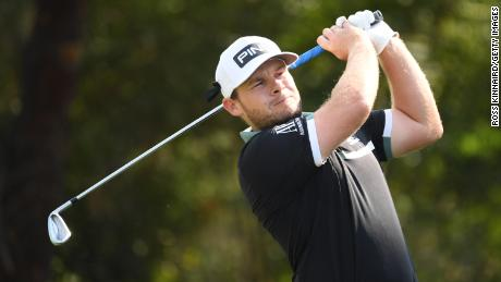 Hatton tees off on the DP World Tour Championship.