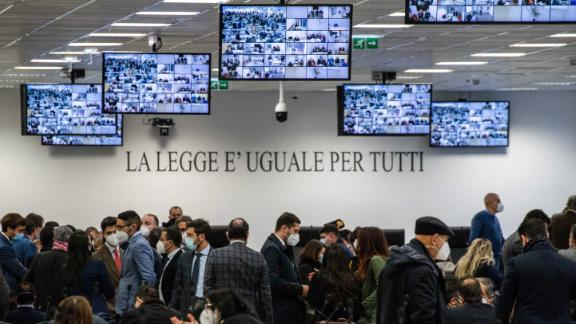 The special courtroom is pictured on January 13, 2021 prior to the opening of the trial in Lamezia Terme, Italy.
