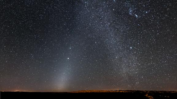 Shown here is a phenomenon known as zodiacal light, which is caused by sunlight reflecting off tiny dust particles in the inner solar system.