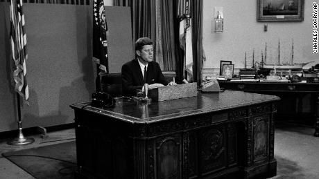 President John F. Kennedy gives a nationwide televised address on civil rights from the White House on June 11, 1963.