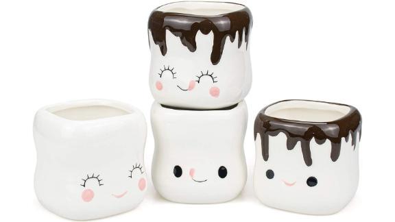 Hedume Ceramic Marshmallow-Shaped Hot Chocolate Mugs, 4-Pack