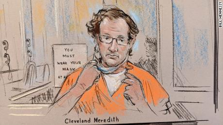 This courtoom sketch depicts Cleveland Meredith in federal court on January 13.