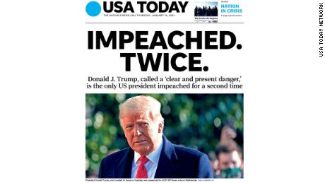 The front page of USA Today for January 14, 2021.