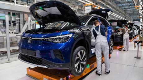 Workers assemble the new ID.4 at a Volkswagen factory in Zwickau, Germany. According to official data, automobiles are Germany's main export commodities in 2019.