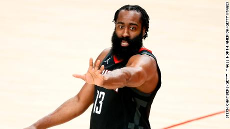 Harden reacts during the Rockets' game against the Portland Trail Blazers last December.