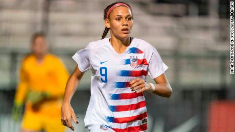 Trinity Rodman sprints during a game between France and USWNT U-20 Blue in 2019.