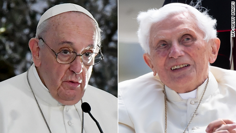 Pope Francis, left, and former Pope Benedict, right.