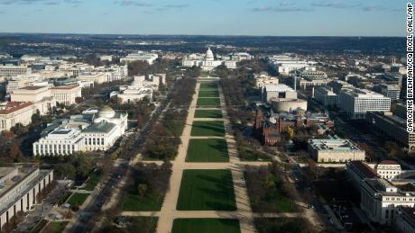 The National Mall is seen from the top of the Washington Monument in Washington in November 2020.