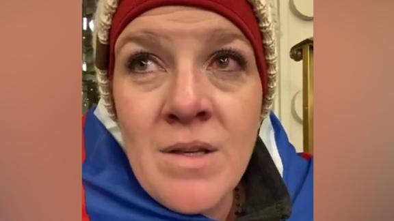 Jenny Cudd, seen in this Facebook video, has been charged in connection with the US Capitol Hill riot and insurrection.