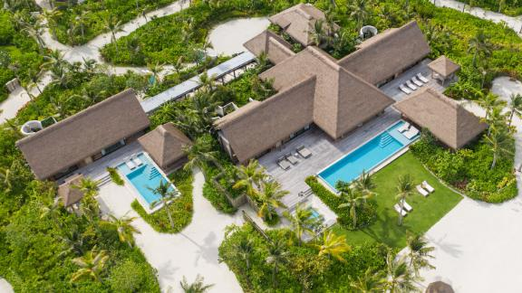 <strong>Beach Villa: </strong>An aerial view of the three-bedroom beach villa, which has two swimming pools.