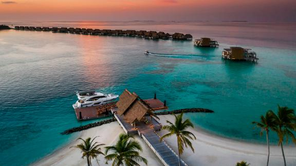 <strong>Arrival pier: </strong>Guests can access the island via a 40-minute ride on one of the resort's six yachts. It's a short distance from the main Waldorf Astoria Maldives Ithaafushi resort, which opened in 2019.