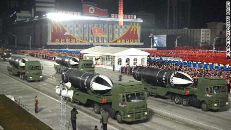 "This picture taken on January 14, 2021 and released from North Korea's official Korean Central News Agency (KCNA) on January 15 shows what appears to be submarine-launched ballistic missiles during a military parade celebrating the 8th Congress of the Workers' Party of Korea (WPK) in Pyongyang. (Photo by - / KCNA VIA KNS / AFP) / - South Korea OUT / REPUBLIC OF KOREA OUT   ---EDITORS NOTE--- RESTRICTED TO EDITORIAL USE - MANDATORY CREDIT ""AFP PHOTO/KCNA VIA KNS"" - NO MARKETING NO ADVERTISING CAMPAIGNS - DISTRIBUTED AS A SERVICE TO CLIENTS
