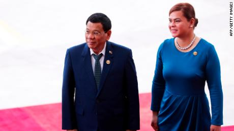Philippines President Rodrigo Duterte and his daughter Sara at the Boao Forum for Asia Annual Conference 2018 in Boao, China, on April 10, 2018.