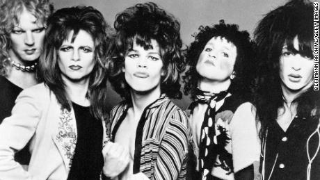 The New York Dolls, left to right: Arthur Kane, Jerry Nolan, David Johansen, Sylvain Sylvain and Johnny Thunders