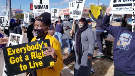 Fight for $15 and a Union protest in Memphis, TN, on January 15, 2021.