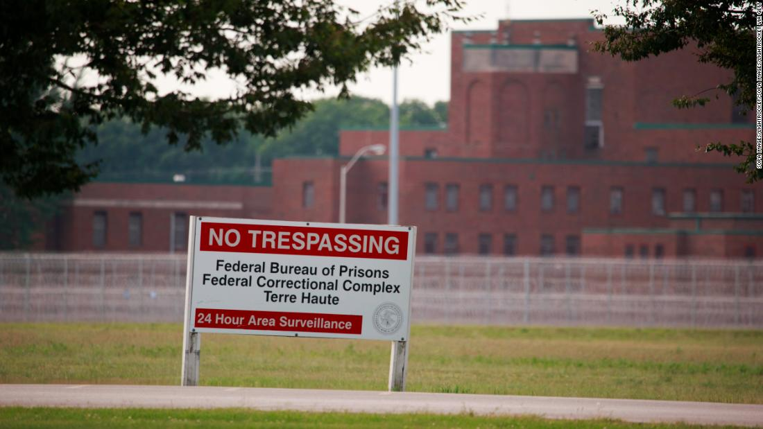 A sign is seen outside the Terre Haute Federal Correctional Complex in Indiana.