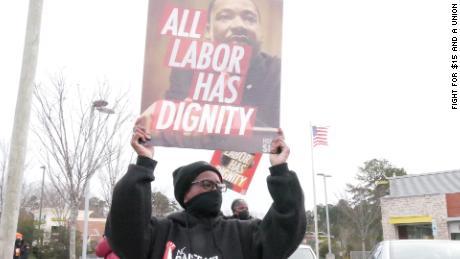 Rita Blalock striking with workers in Durham, NC on January 15, 2021.