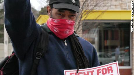 Umar Benson, a worker striking with Fight for $15 and a Union in Durham, NC on January 15, 2021.