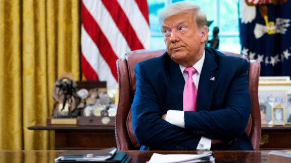 Trump talks to reporters while hosting Republican Congressional leaders and members of his cabinet in the Oval Office at the White House July 20, 2020 in Washington, DC.