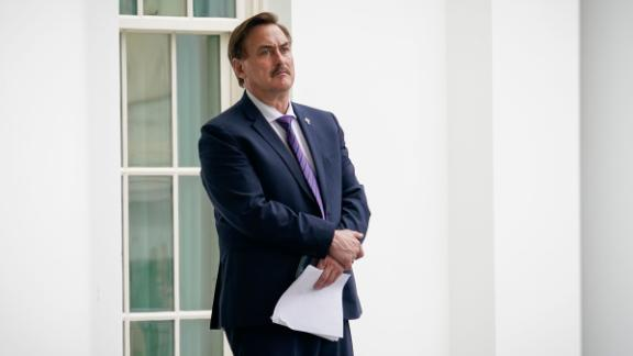 MyPillow CEO Mike Lindell waits outside the West Wing of the White House before entering on January 15, 2021 in Washington, DC.