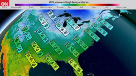 Holiday Weekend National Temperature Map