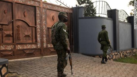 Security forces outside Bobi Wine's property on Friday in the Ugandan capital of Kampala.