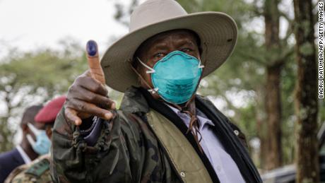 Ugandan President Yoweri Museveni after casting his ballot at in Kiruhura, Uganda, on Thursday.