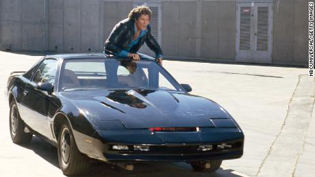 David Hasselhoff as Michael Knight and K.I.T.T., the talking car, in the 1980s television series 'Knight Rider.'