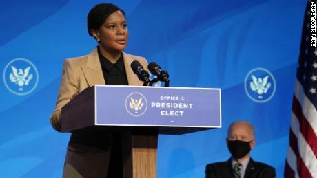 President-elect Joe Biden listens as Alondra Nelson speaks on Saturday.