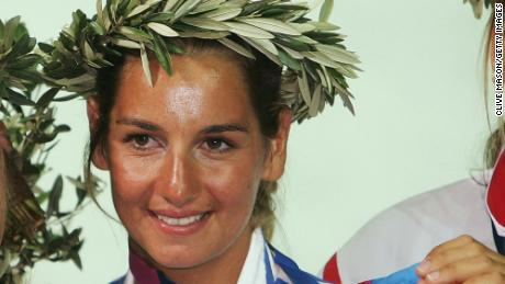 Sofia Bekatorou of Greece won gold in the women's double handed dinghy 470 finals race at the Athens 2004 Summer Olympic Games.