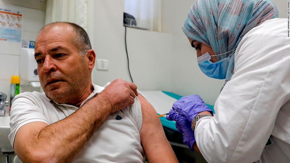 Vaccination rates highlight stark differences between Israelis and Palestinians -- amid row over responsibility