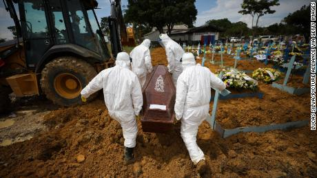 Cemetery workers in protective suits carry the coffin of a person who died of Covid-19 at Nossa Senhora Aparecida Cemetery in Brazil on January 15.