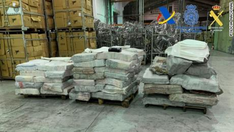 A total of 2,065 kilograms (4,553 pounds) of cocaine was seized at the port of Algeciras, southern Spain.