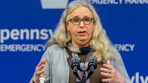 In this May 29, 2020, file photo, Pennsylvania Secretary of Health Dr. Rachel Levine meets with the media at the Pennsylvania Emergency Management Agency (PEMA) headquarters in Harrisburg, Pa. President-elect Joe Biden has tapped Levine to be his assistant secretary of health, leaving her poised to become the first transgender federal official to be confirmed by the U.S. Senate.