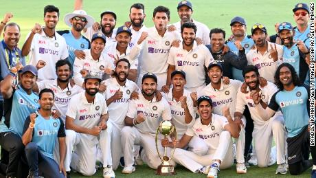 Team Indian celebrates a series victory against Australia.