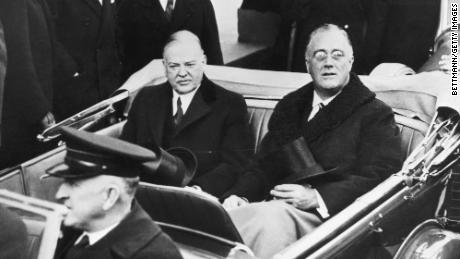 On the day of his presidential inauguration in 1933, Franklin Delano Roosevelt rode to the ceremony with his predecessor, Herbert Hoover.