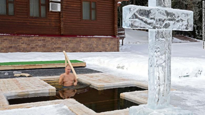Russian President Vladimir Putin takes an icy dip to mark Epiphany