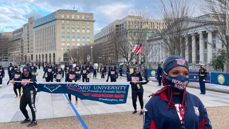 The Howard University marching band will escort Vice President Kamala Harris to the White House