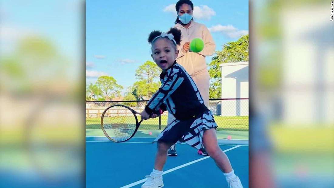 Tennis legend's daughter joins her on the court