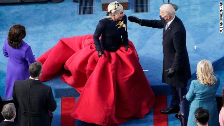 Joe Biden greets Lady Gaga during the 59th Presidential Inauguration (AP Photo/Susan Walsh, Pool)