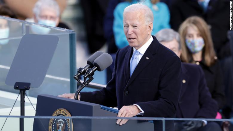 President Joe Biden delivers his inaugural address.