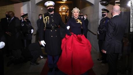 Lady Gaga arrives to sing the national anthem at the inauguration of President-elect Joe Biden at the US Capitol on January 20 in Washington, DC.