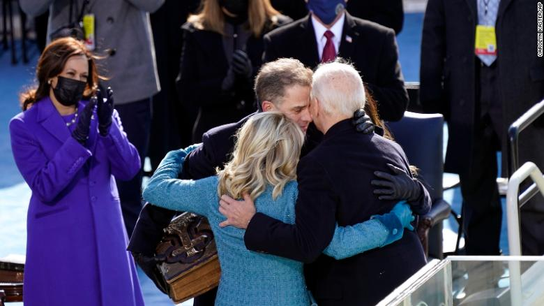 President Joe Biden hugs first lady Jill Biden, his son Hunter Biden and daughter Ashley Biden after being sworn-in during the 59th Presidential Inauguration.