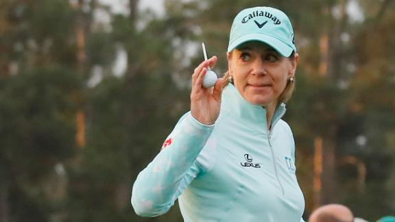 AUGUSTA, GEORGIA - APRIL 06:  Annika Sorenstam of Sweden takes part in the First Tee ceremony prior to the start of the final round of the Augusta National Women's Amateur at Augusta National Golf Club on April 06, 2019 in Augusta, Georgia. (Photo by Kevin C.  Cox/Getty Images)