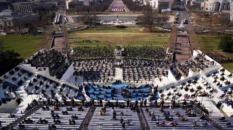 Guests and spectators attend the 59th Presidential Inauguration for President Joe Biden.